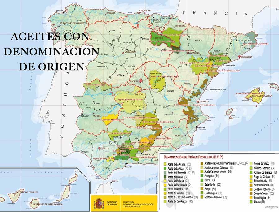 Mapa aceites con denominaciones de origen protegidas